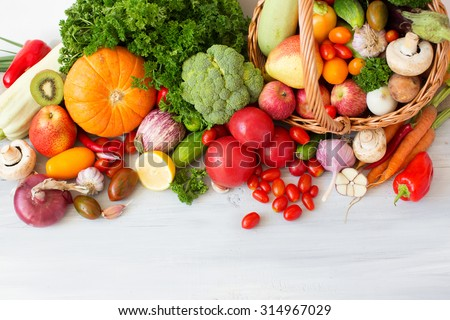 Collection fruits and vegetables isolated on a white background top view.