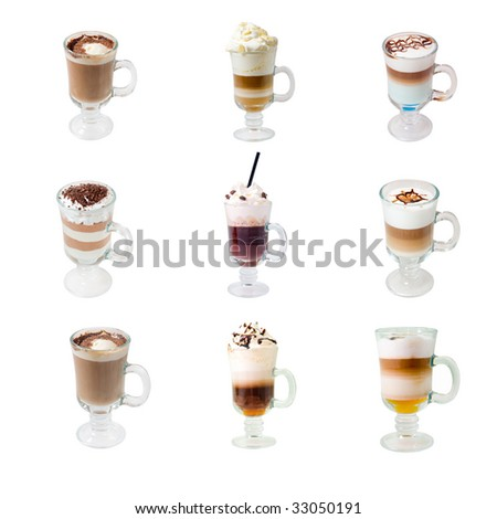collection glass cap with coffee . isolated on white background. clipping Path