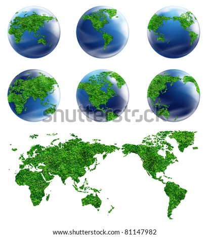 Collection Globe and detail map of the world. Different views for design work
