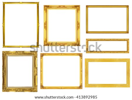 collection golden frame isolated on white background, clipping path. #413892985