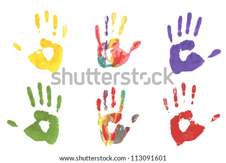 collection handprint  colored inks.