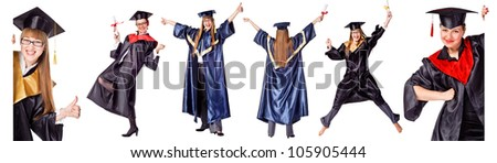 Collection - Happy Graduation Student. Isolated over white