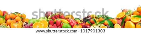 Collection healthy fruits for project isolated on white background. Free space for text. - Shutterstock ID 1017901303