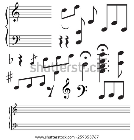 Collection icons  music note.  illustration.