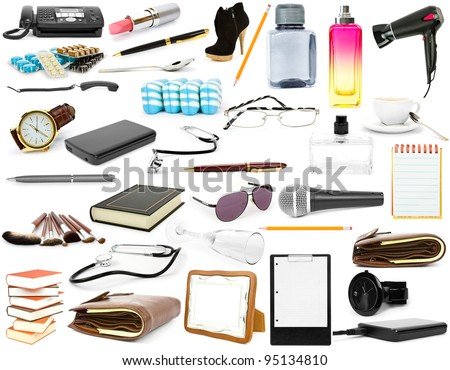 collection isolated objects on a white background