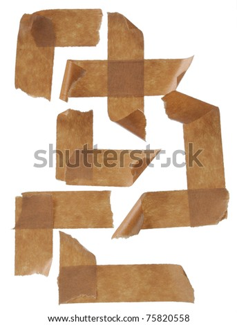 collection masking tape streaks. Isolated on white background.