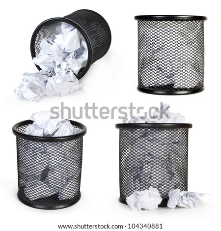 collection metal trash bin from paper isolated on white