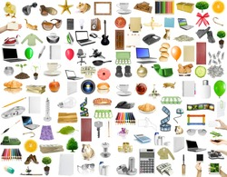 collection objects on the white background
