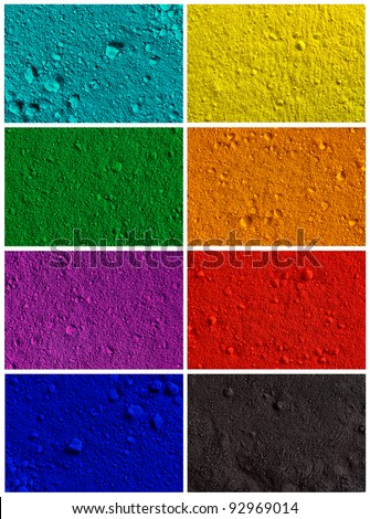 Collection od colorful powder background - turquoise, yellow, green, orange, violet, red, blue, black