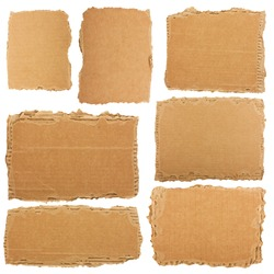 Collection of a cardboard pieces isolated on white background