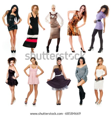 Collection of a fasion woman photos on white background