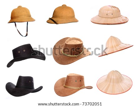 Collection of a helmets and hats for tropical destinations. #73702051