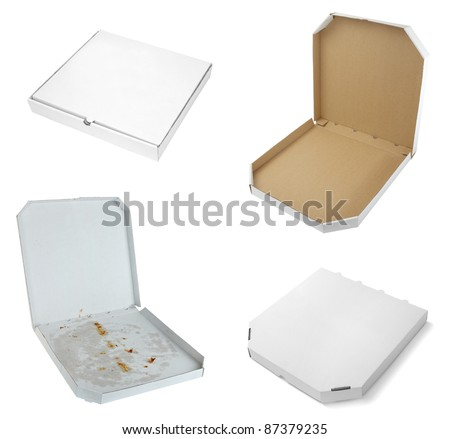 collection of a pizza  boxes  on white background. each one is shot separately