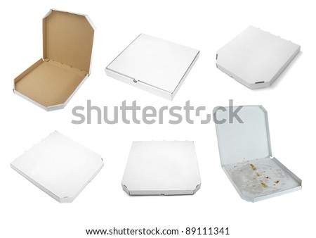 collection of a pizza  boxes  on white background. each one is shot separately - stock photo