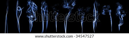 collection of abstract smoke isolated on black