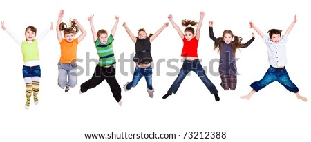 Collection of active junior kids jumping #73212388