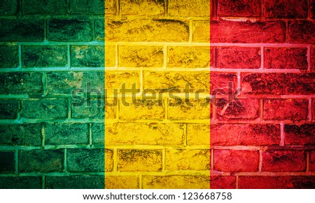 Collection of Africa flag on old brick wall texture background, Mali