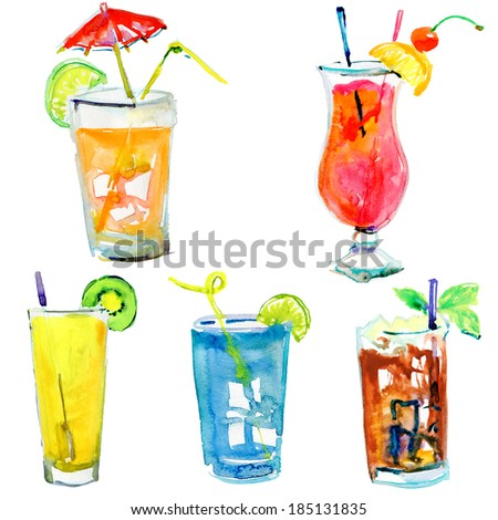 Collection of alcohol coctails and other drinks. watercolor
