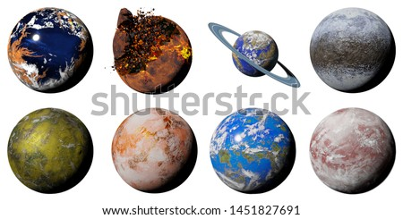 collection of alien planets isolated on white background, nearby exoplanets (3d science illustration)