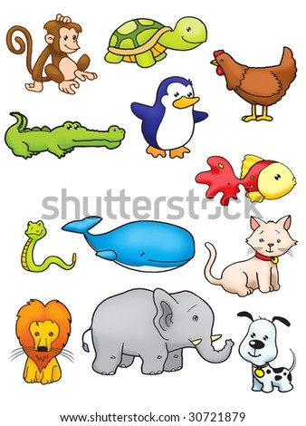 Collection of animal vector in full colour - stock photo