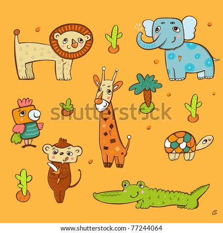 collection of animals in Africa: a giraffe, parrot, lion, turtle, crocodile, elephant, monkey