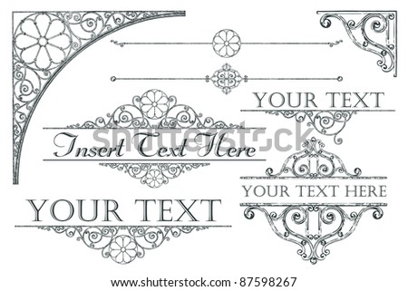 Collection of antique-style design elements
