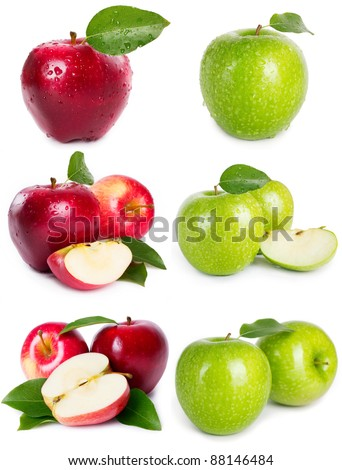 collection of apples isolated on white