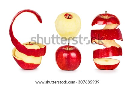 collection of apples with peel isolated on white background