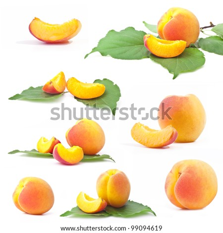 Collection of apricot with leaf, isolated on a white background