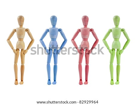 Collection of Artist mannequin in various colors, isolated wood human model