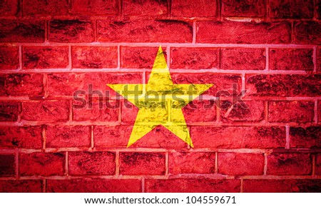 Collection of Asian flag on old brick wall texture background, China