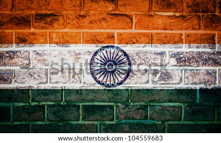 Collection of Asian flag on old brick wall texture background, India