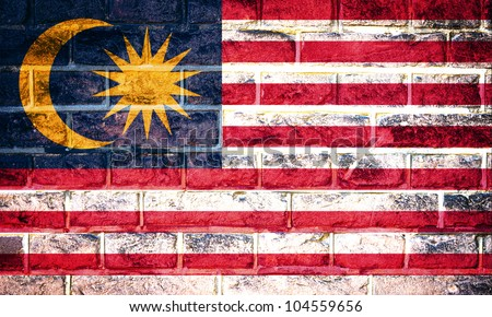 Collection of Asian flag on old brick wall texture background, Malaysia