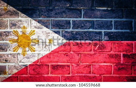 Collection of Asian flag on old brick wall texture background, Philippines