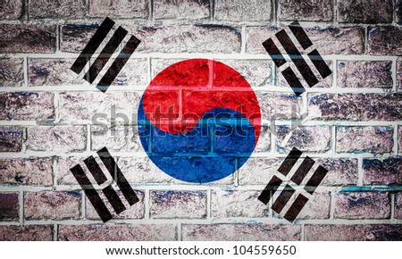 Collection of Asian flag on old brick wall texture background, south korea