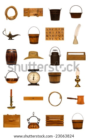 Collection of assorted antique objects isolated on white: rope, crate, bucket, kettle, lamp, alphabet, blocks, ink, well, feather, barrel, hat, can, tool, box, scale, oil, candle, lasso, pan - stock photo