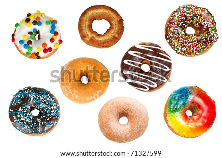 Collection of Assorted Colorful Donuts from Above Isolated on a White Background