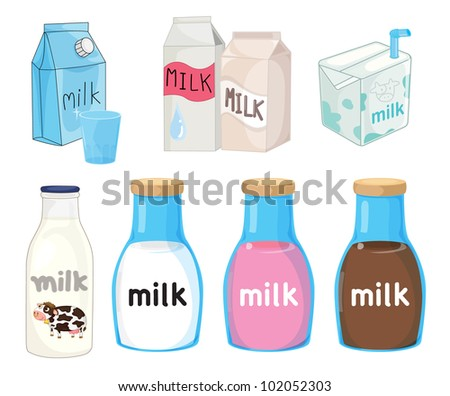 Collection of assorted milks on white - EPS VECTOR format also available in my portfolio.