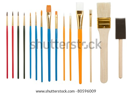 Collection of Assorted Paintbrushes Isolated on a White Background
