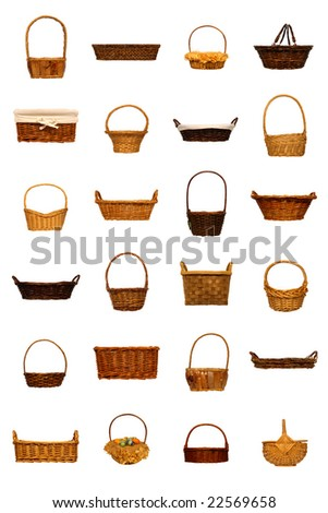 Collection of assorted rustic wicker baskets isolated on white