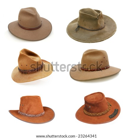 Collection of Australian bush hats, well isolated on white.