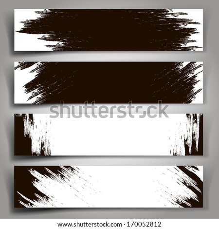 Collection of background of black and white paint strokes.  #170052812