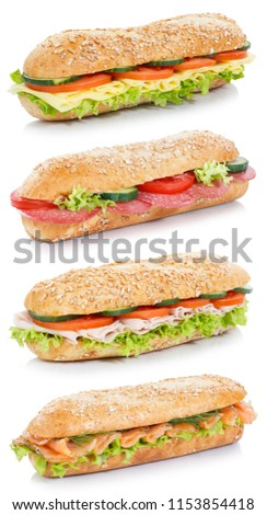 Collection of baguette sub sandwiches salami ham cheese salmon fish whole grains fresh portrait format isolated on a white background #1153854418