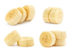 Collection of banana slices, isolated on white background