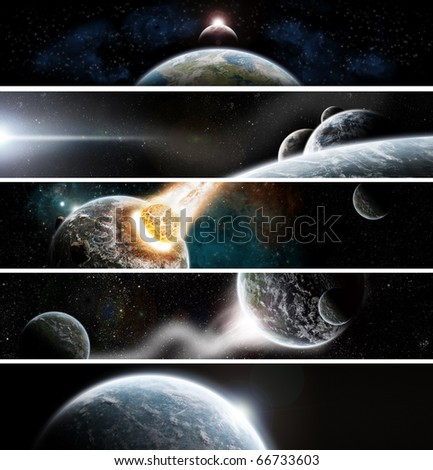 Collection of 5 banners for website : Apocalypse space theme