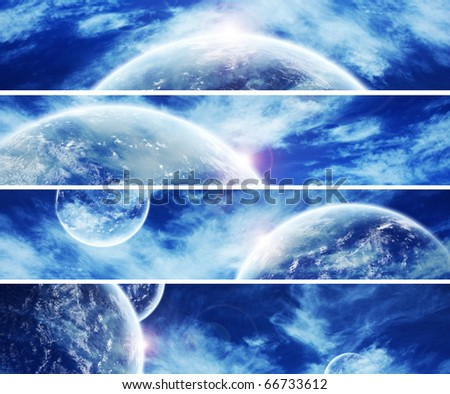 Collection of 5 banners for website : Heaven Space theme