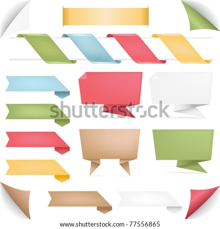 Collection Of Banners Of Origami And Ribbons, Isolated On White Background - stock photo