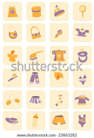 Collection of beautiful baby icons with accessories