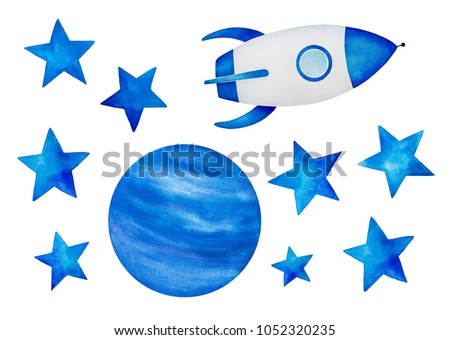 Collection of beautiful cosmic elements. Star shapes, planet illustration, rocket space ship. Stickers, print, children room decor. Hand drawn water color on white, cut out clip art.