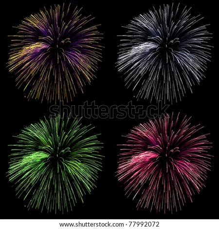 collection of beautiful fireworks on black background